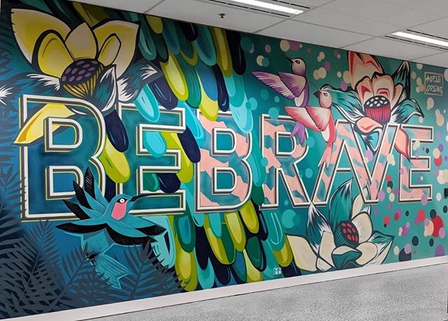 🌿Be Brave🌿 for @ciscomeraki new Sydney head office #sophiodling #mural #urbanart #ciscomeraki #typography