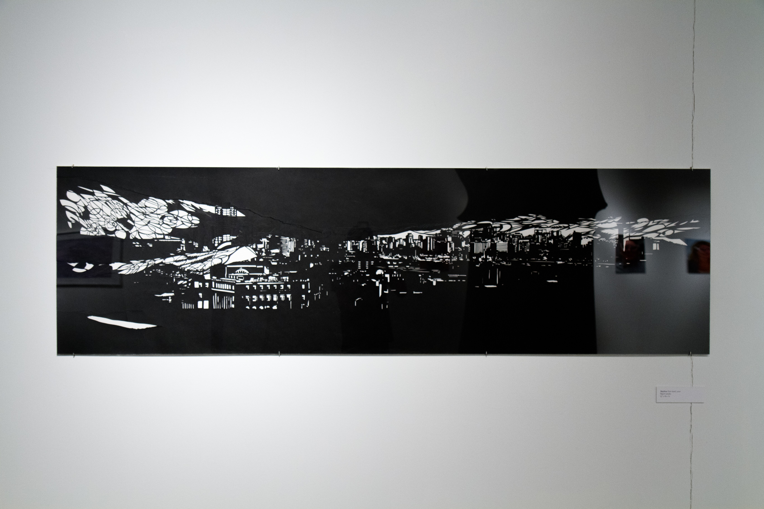 San Juan (Skyline series)  23 in x 80.5 in, collage, cut black Torinoko paper.