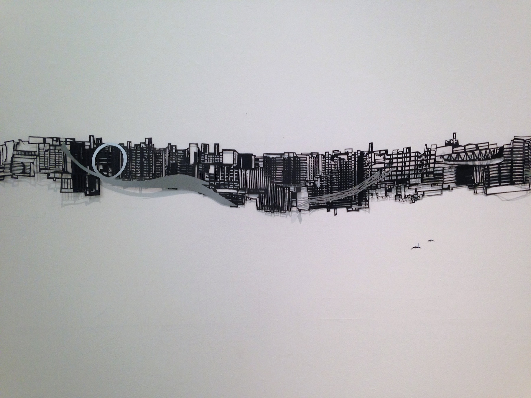 3-5 ft x 32 ft Cut paper, collage, ink and graphite on wall Marble sculpture design by Frances Gallardo, executed by Ramón Berríos.