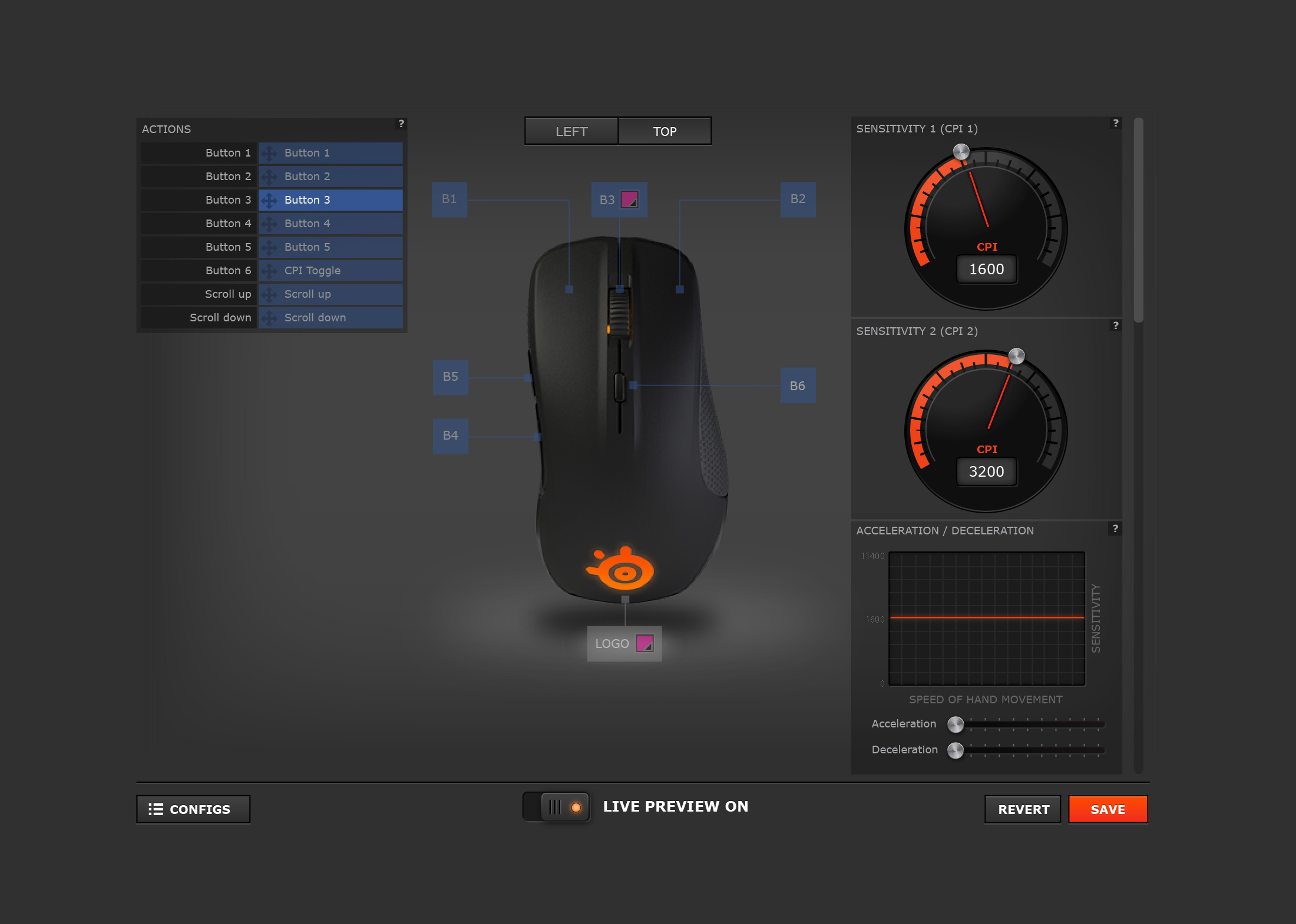 Full-view of the Rival Mouse UI
