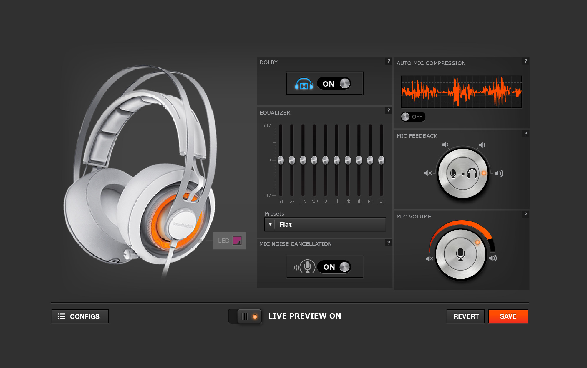 Customization interface for the Siberia Elite headset.