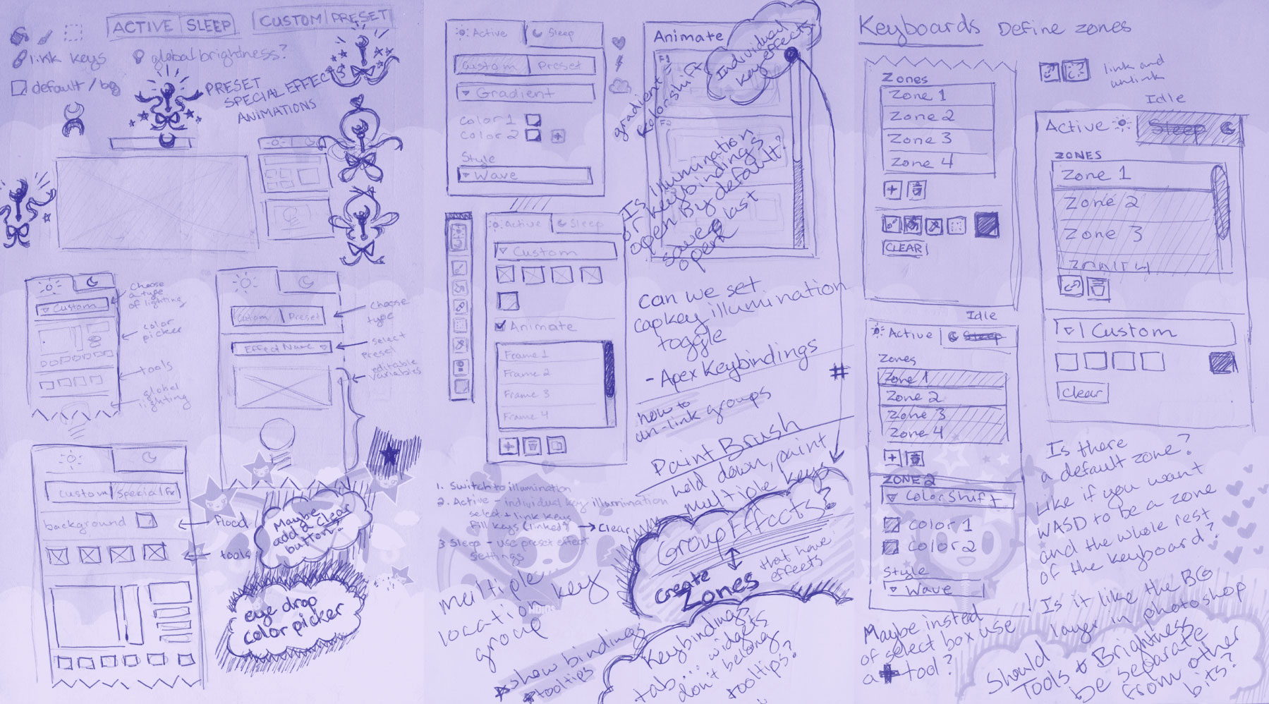Early sketches of different UI approaches (and some unrelated doodles)