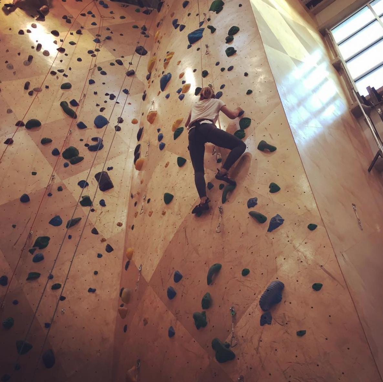 A photo of me at a rock climbing gym, hallway up a climb.