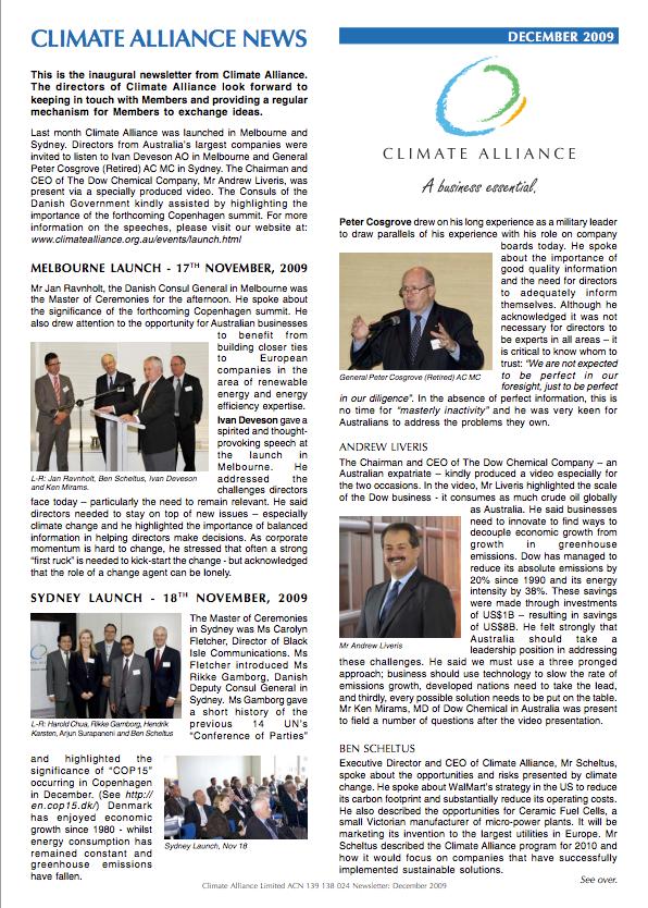 Climate Alliance Newsletter - Dec 2009