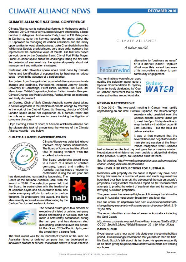 Climate Alliance Newsletter - December 2010