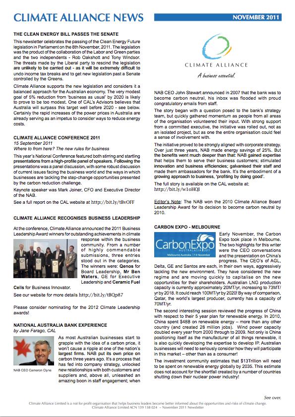 Climate Alliance Newsletter - November 2011