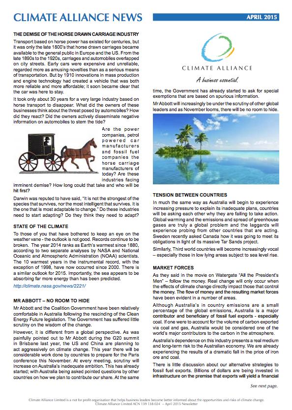 Climate Alliance Newsletter - April 2015