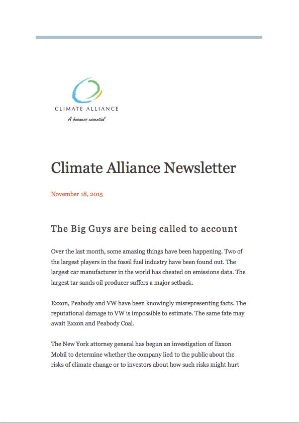 Climate Alliance Newsletter - November 2015
