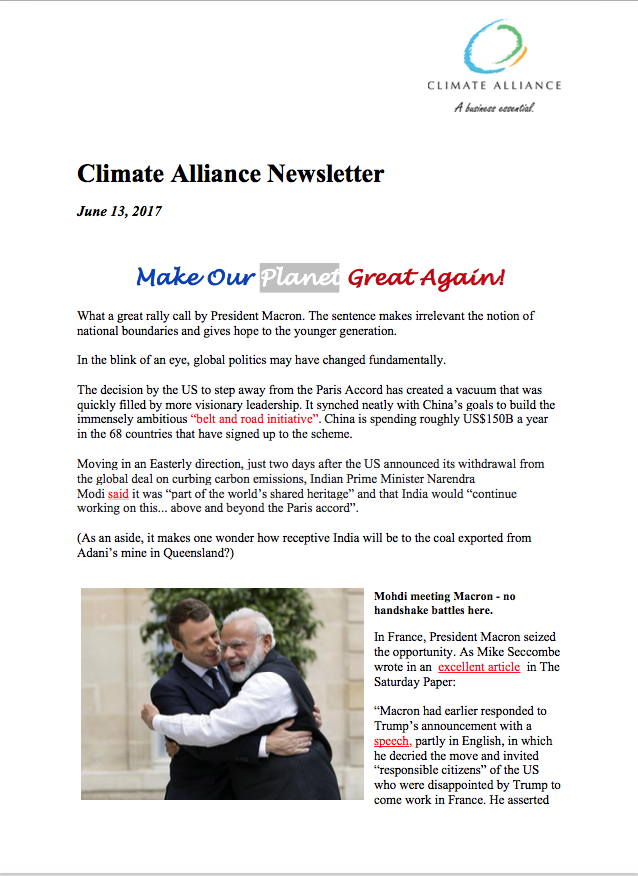 Climate Alliance Newsletter - June 2017