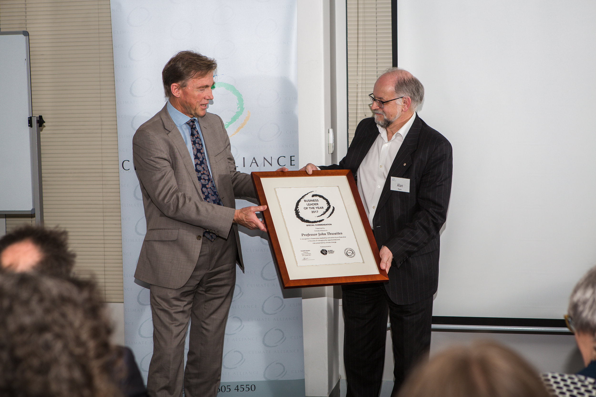 Special Commendation, Business Leader of the Year 2017 - Professor John Thwaites with Alan Pears, Member of the Climate Alliance Board of Advisors.