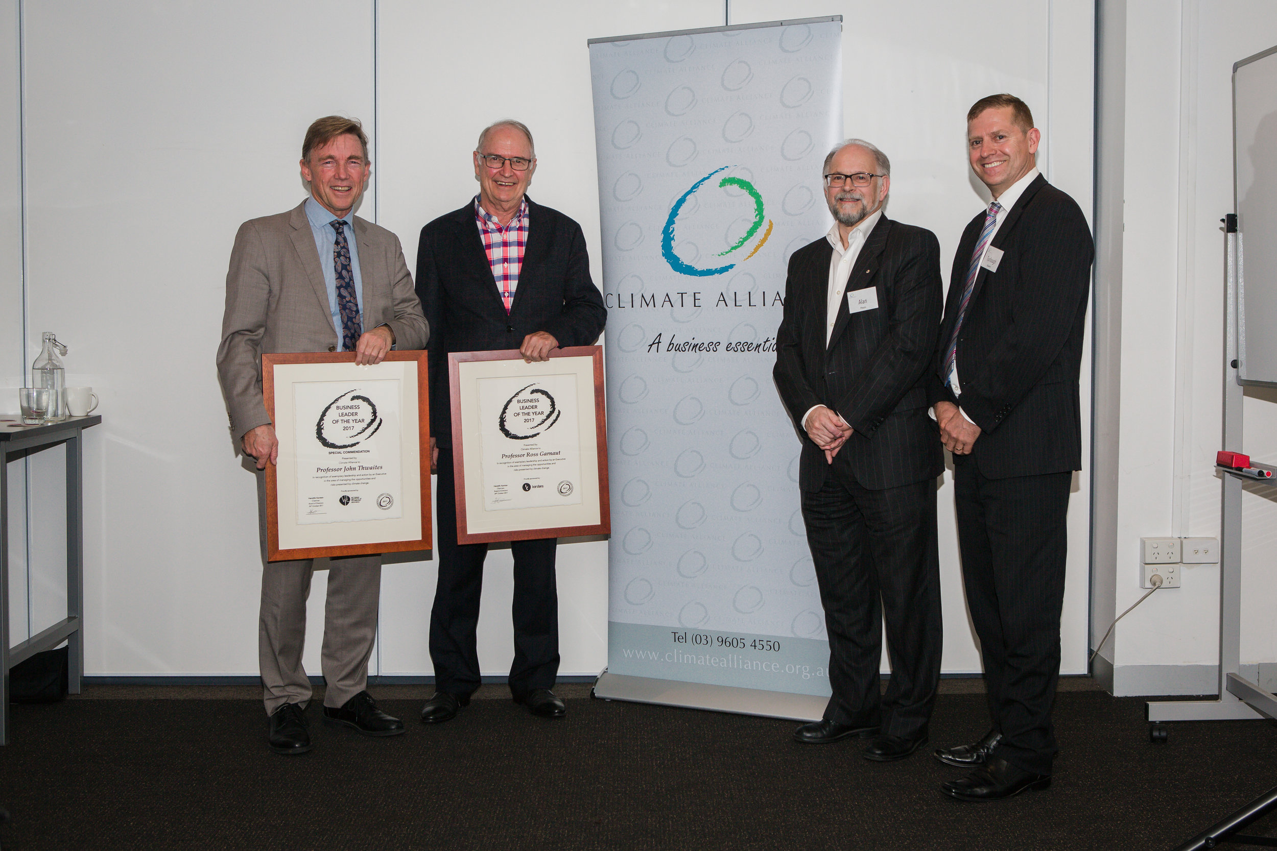 2017 Business Leaders of the Year, Professor John Thwaites, Professor Ross Garnaut with Alan Pears and Dr Turlough Guerin.