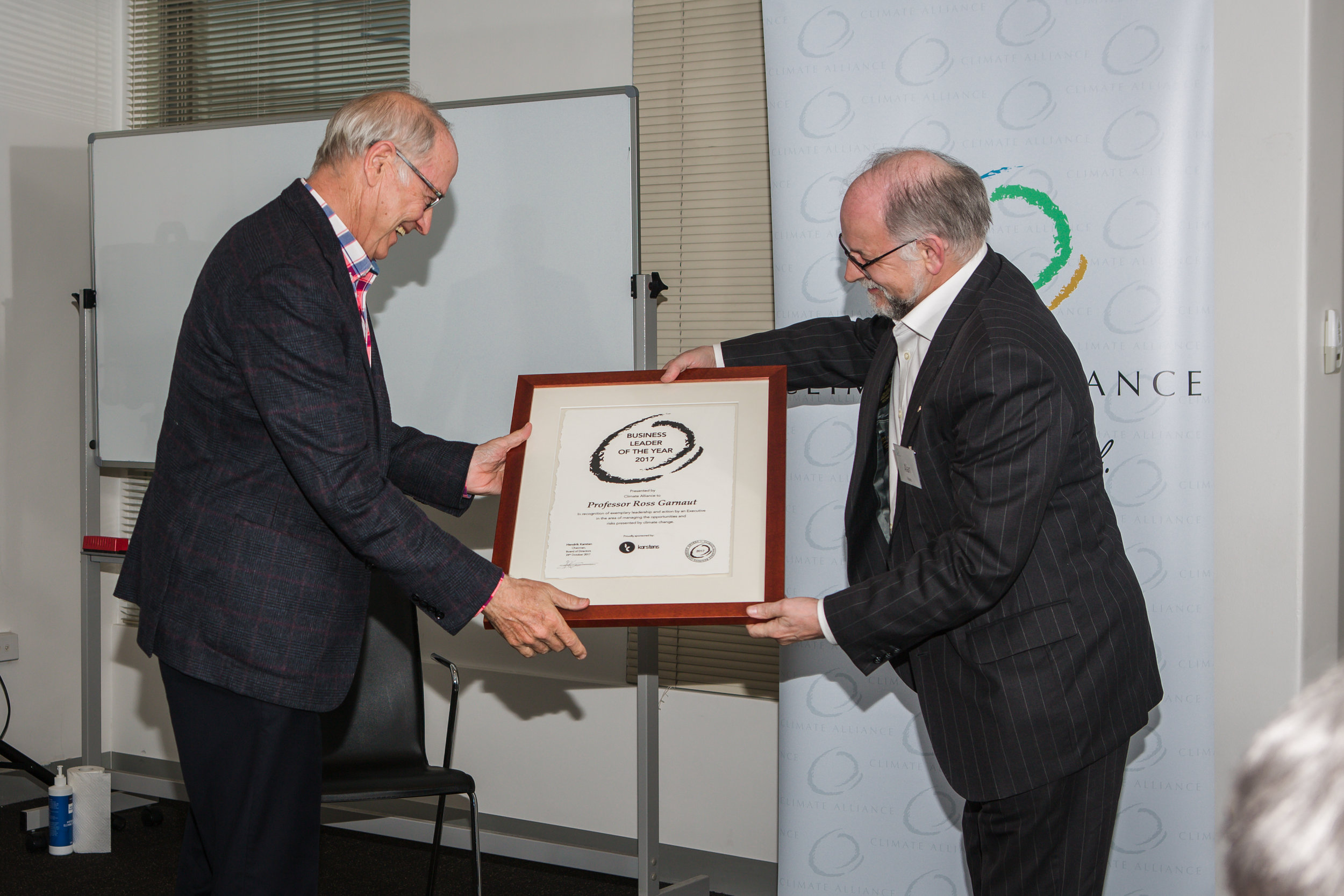 Business Leader of the Year 2017 - Professor Ross Garnaut with Alan Pears, Member of the Climate Alliance Board of Advisors.