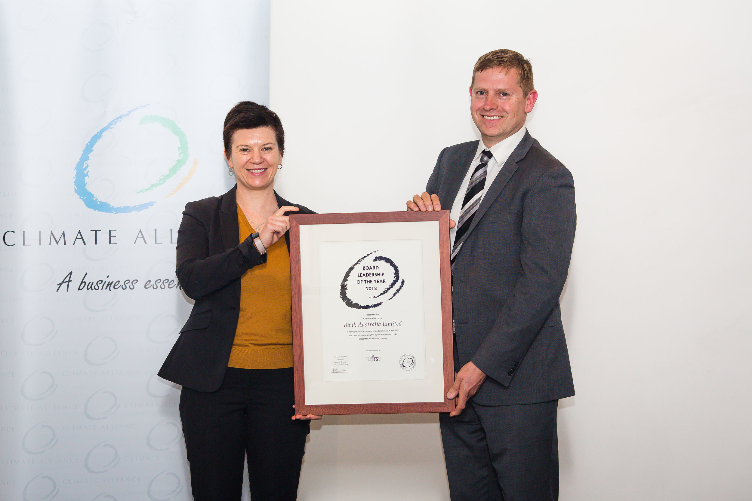 Board Leadership of the Year 2018 - Bank Australia, represented by Fiona Nixon, Head of Corporate Affairs with Turlough Guerin, Chairman of the Climate Alliance Board of Advisors.