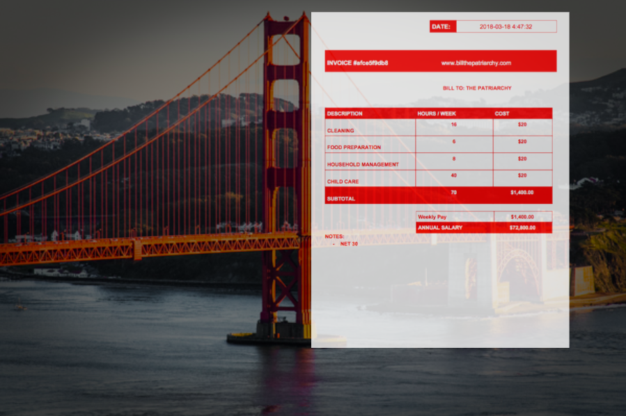 Image Credit: Golden Gate Bridge by Bahman via  Flickr    Image description: Golden Gate Bridge with large invoice super-imposed on top, same height as the bridge.