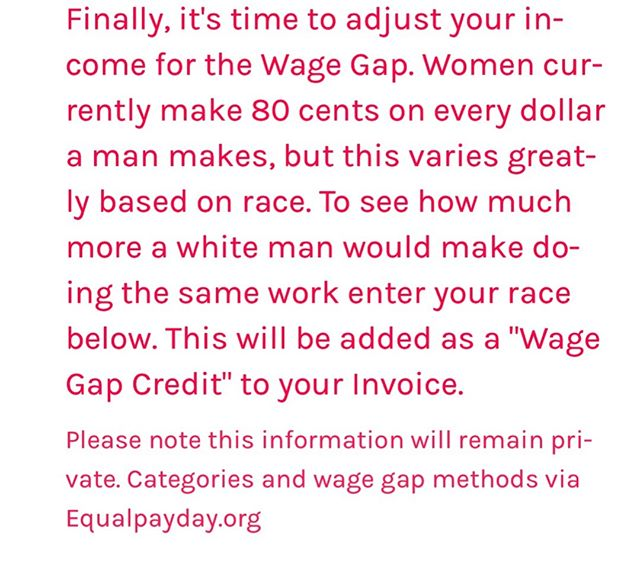 #equalpayday is a great time to head over to billthepatriarchy.com and calculate not only your salary for unpaid labor, but how much more a man would make doing that same work. If it sounds like adding insult to injury, that's good. We should be mad. Until the free work of women is valued (aka paid MONEY) then this gap will persist. imagine a world where being a caregiver is a respected dignified and paid job. [post 1 of 2]