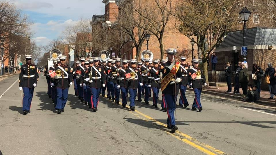The Quantico Marine Corp Band entertaining the crowd before the #GWParade begins.