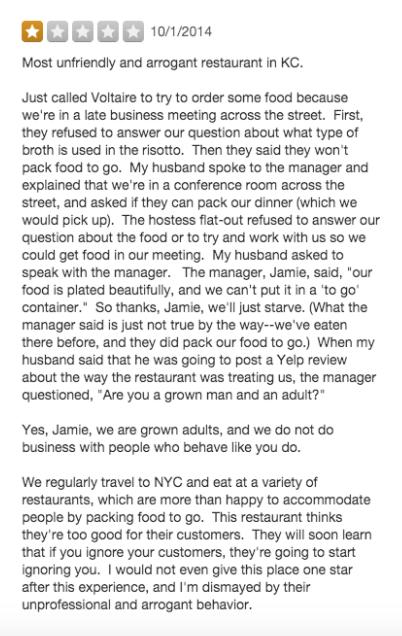 online review nasty customer