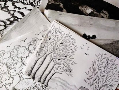 Students' ink illustrations