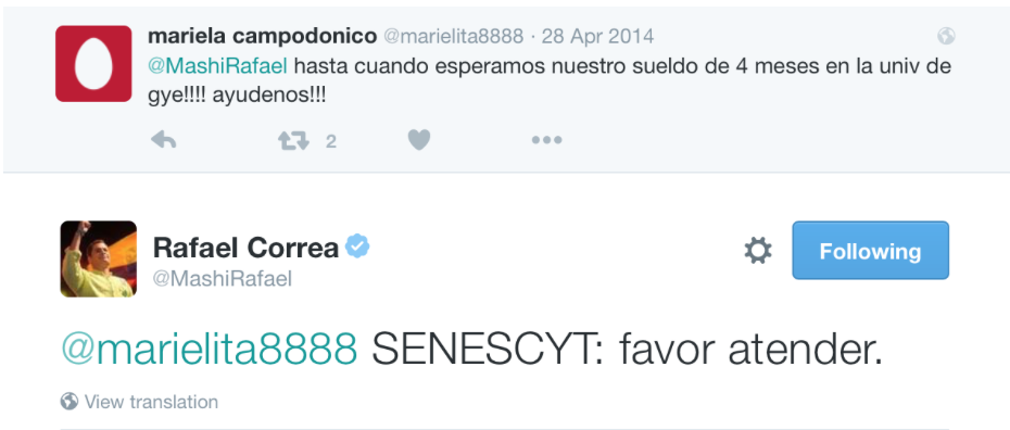 Correa's tweet to a public institution after a complain in social media
