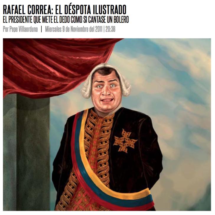 "Cover of the digital magazine Dedo Medio. Correa is called the ""Illustrated Despot"""