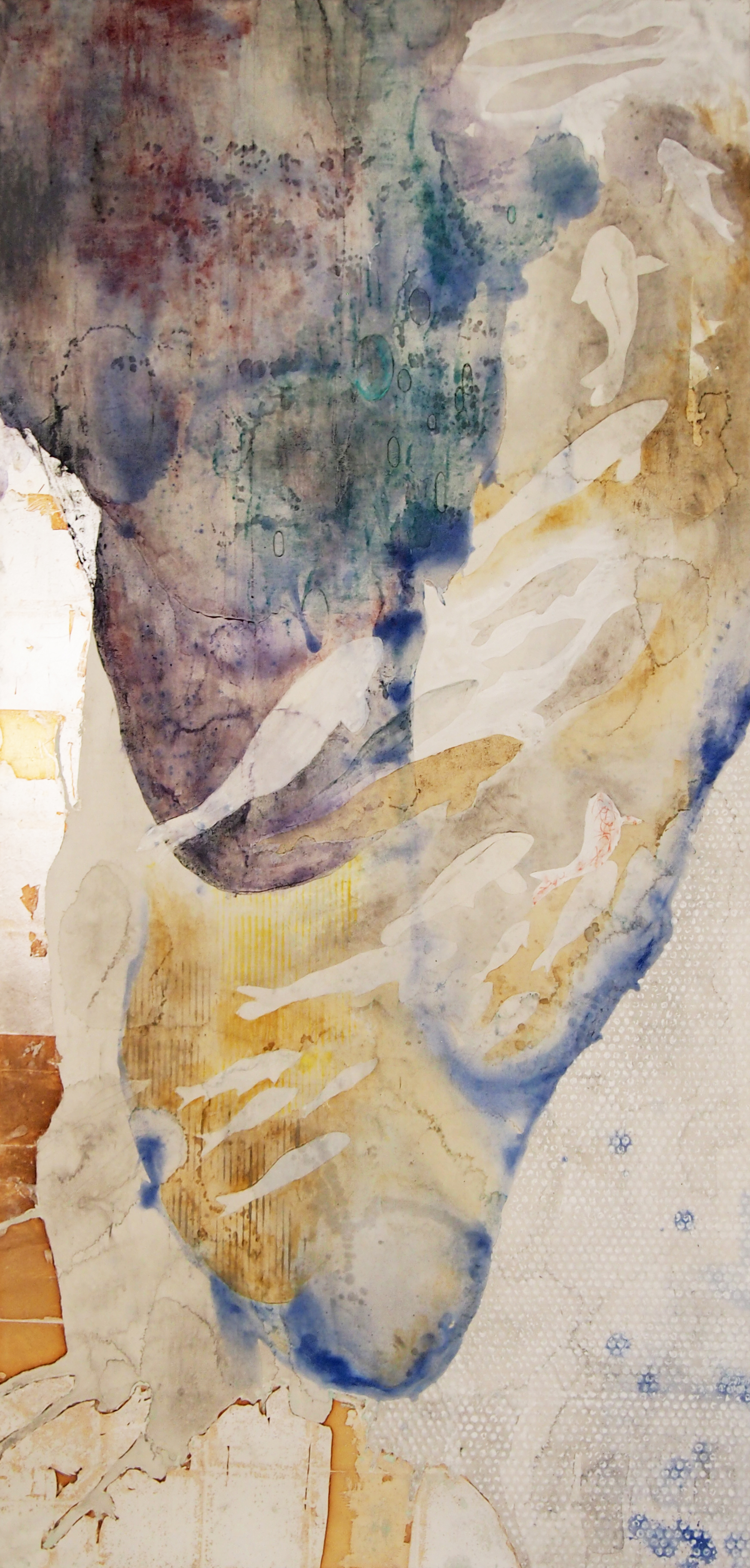 "Natural pigments, sumi ink and gold leaves on mashi paper   Size:40""×72"""