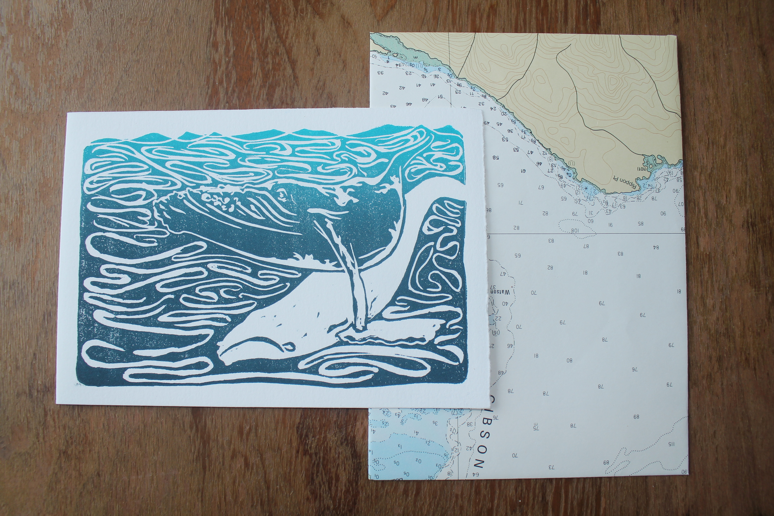 "Ghost whale (missing you)  lino block print; oil-based ink on cotton paper (with handmade envelopes)  4.5"" x 6.5""  2011"