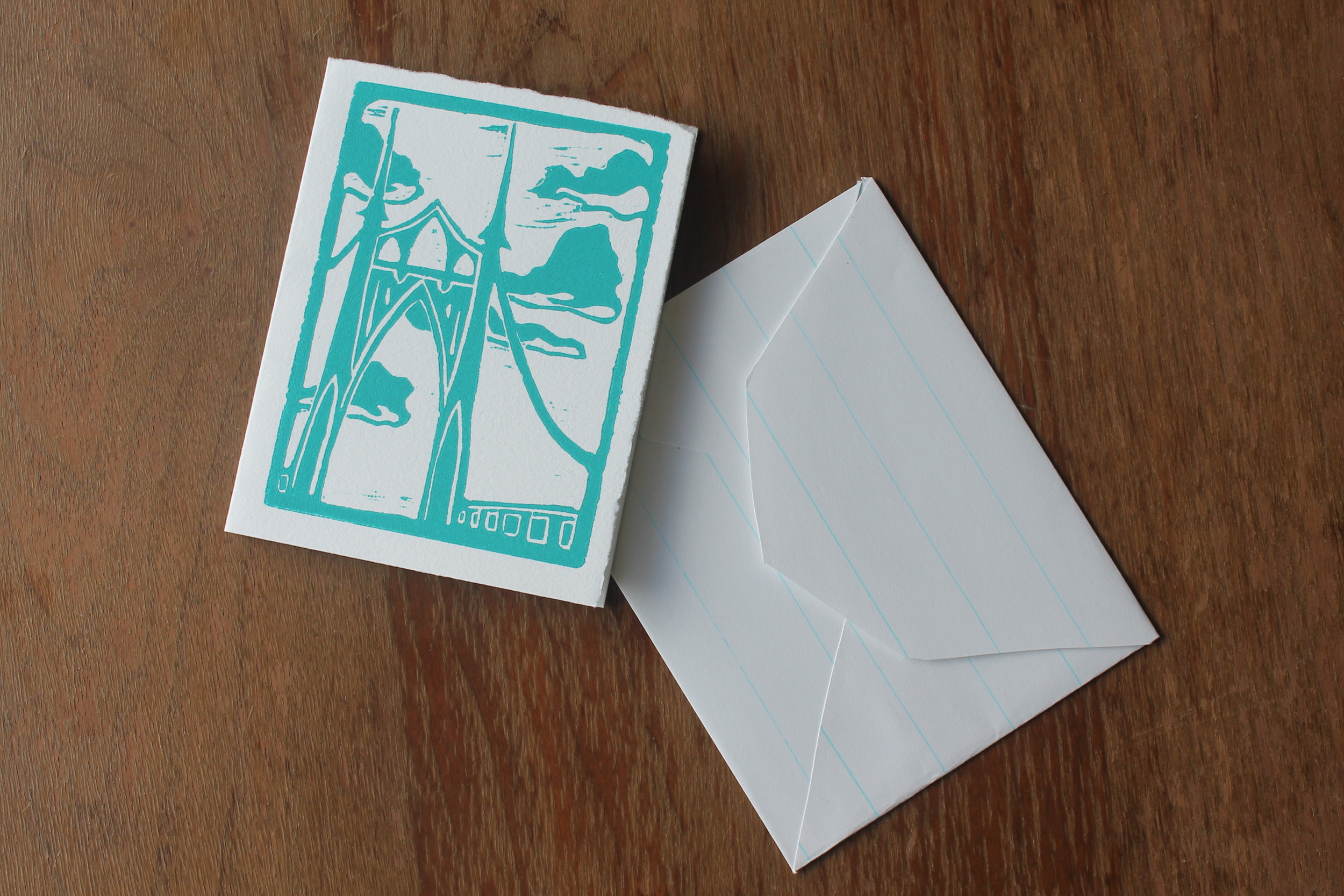 "St John's Bridge  lino block print; oil-based ink on cotton paper (with handmade envelopes)  3"" x 5""  2011"