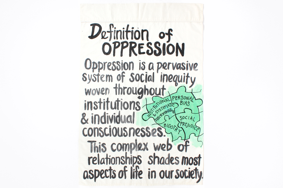"Definitions of Oppression  Acrylic on cotton fabric  approx. 40"" x 30""  2015  photo by Sam Loper"