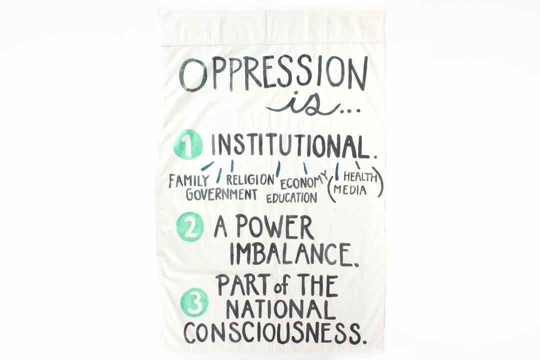 "Three characteristics of oppression  Acrylic paint on cotton  approx 40"" x 30""  2015  photo by Sam Loper"