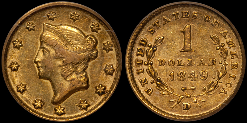 1849-D $1.00 PCGS EF45 CAC