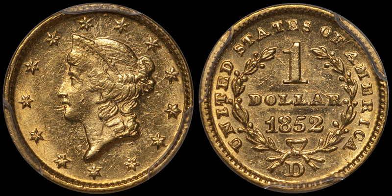 1852-D Gold $1.00 PCGS MS61 CAC