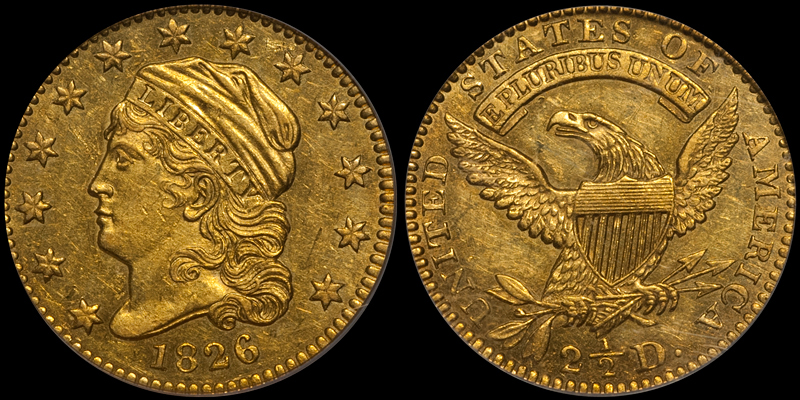 1826/5 $2.50 PCGS MS61 CAC