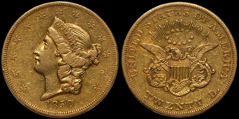 1850-O $20.00 PCGS EF45 CAC