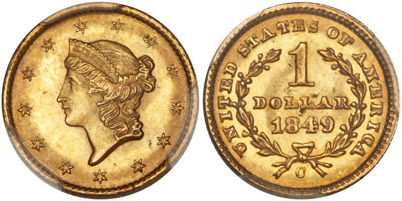 1849-C Closed Wreath $1.00 PCGS MS64 CAC, image courtesy of Heritage