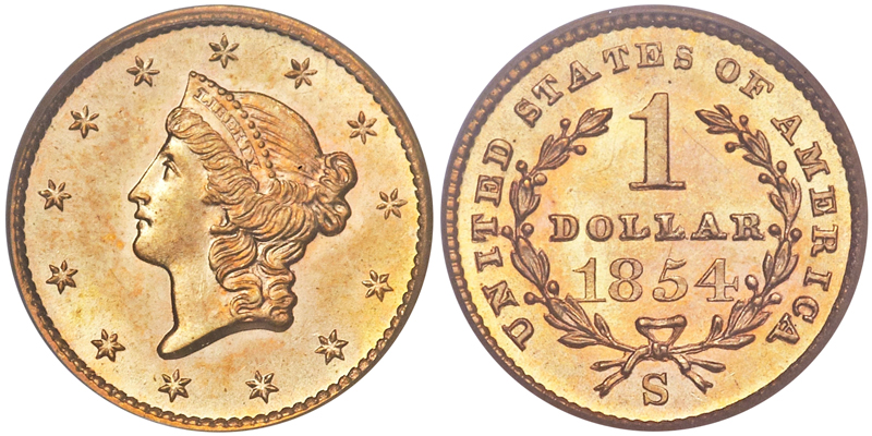 1854-S $1.00 PCGS MS65+ CAC, image courtesy of Heritage