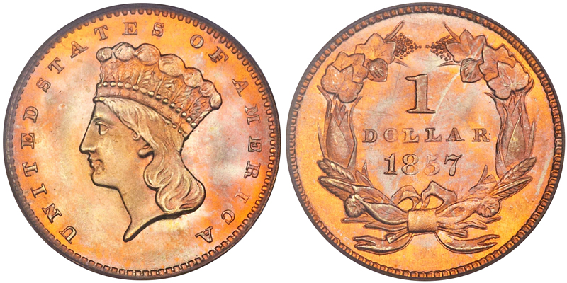 1857 $1.00 PCGS MS68 CAC, image courtesy of Heritage