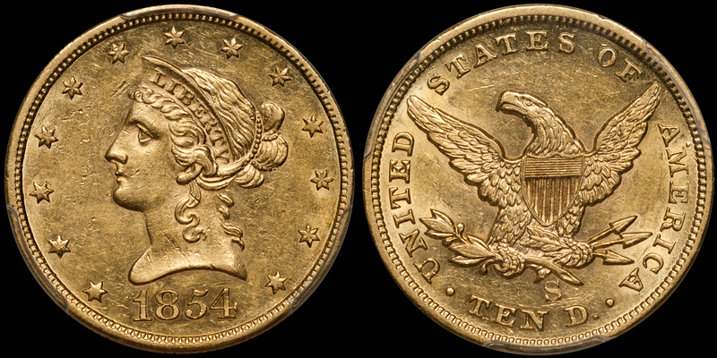 1854-S $10.00 PCGS AU58 CAC