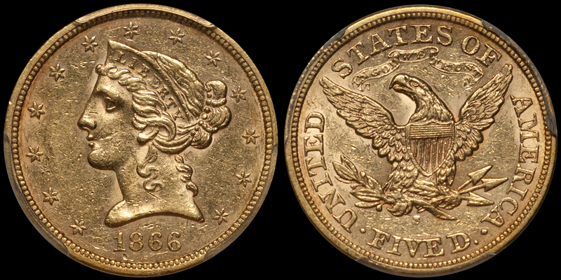 1866-S With Motto $5.00 PCGS AU55