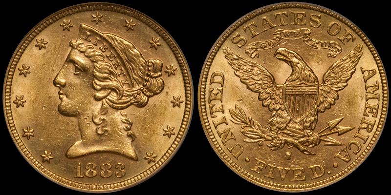 1883-S $5.00 PCGS MS62