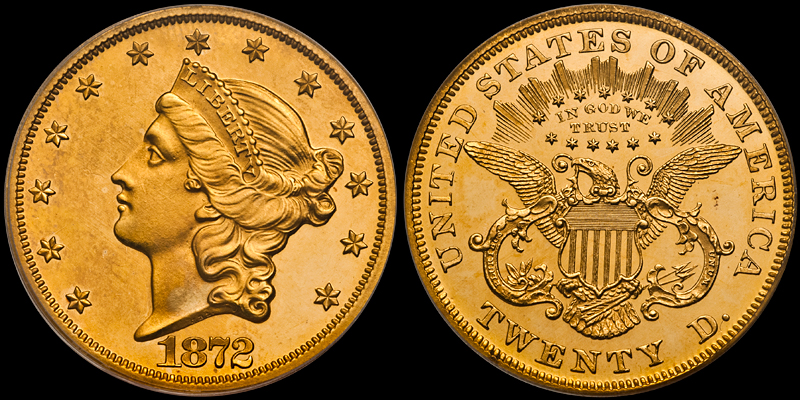 Sold by DWN: 1872 $20.00 PCGS PR64 CAC, Old Green Holder