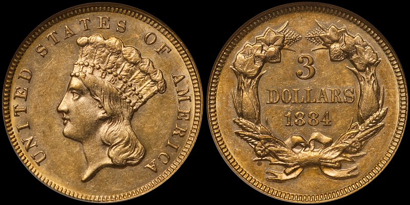 1844 $3.00 NGC AU58