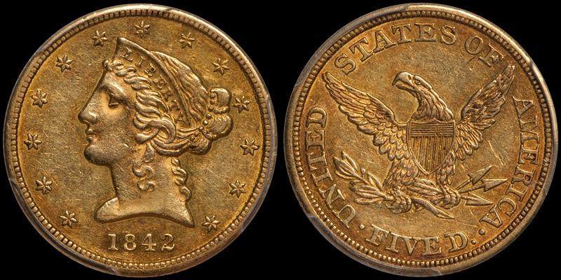 1842 Large Letters $5.00 PCGS AU50 CAC