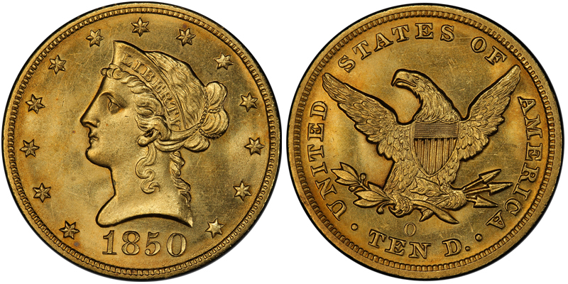 1850-O $10.00 PCGS MS64, courtesy of PCGS Coin Facts