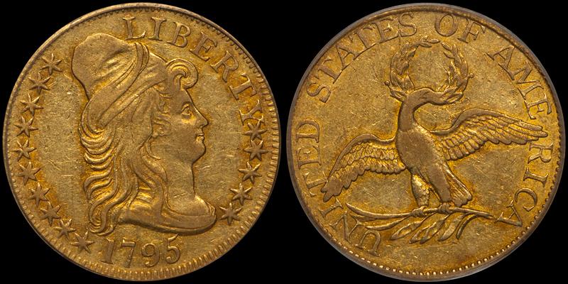 1795 Small Eagle $5.00 PCGS EF45 CAC