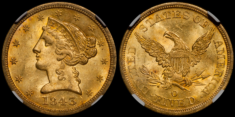 1843-O Large Letters $5.00 NGC MS64+ CAC
