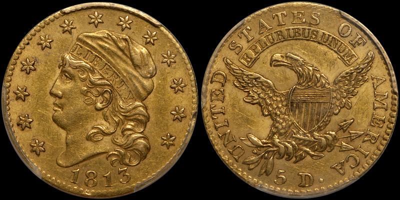 1813 $5.00 PCGS AU55 CAC