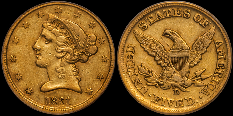 1861-D $5.00 PCGS EF45 CAC