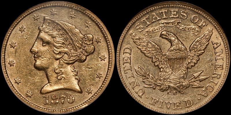 1870-CC $5.00 NGC AU58