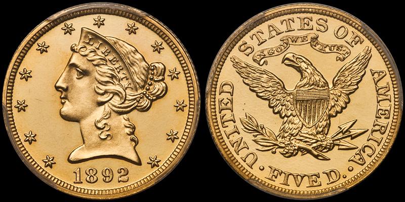 1892 $5.00 PCGS PR66 DCAM