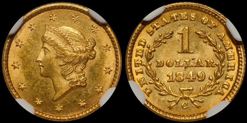 1849-C Closed Wreath $1.00 NGC MS64+ CAC